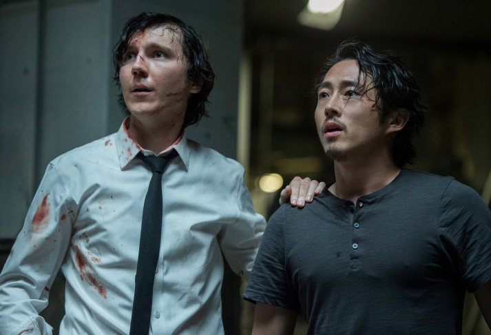 Paul Dano, left, and Steven Yeun in