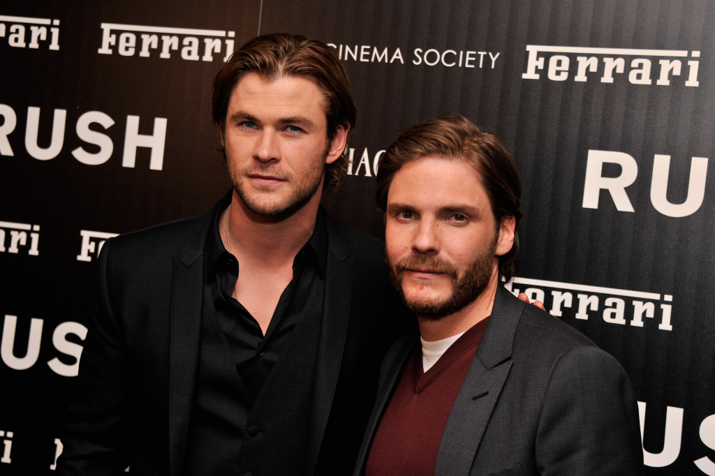 Actors Chris Hemsworth and Daniel Brühl attend the Ferrari and The Cinema Society  Screening of