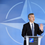 NATO Secretary-General Jens Stoltenberg gives a joint press before a Nato Defense Council meeting at the NATO Headquarters in Brussels on June 14, 2016.