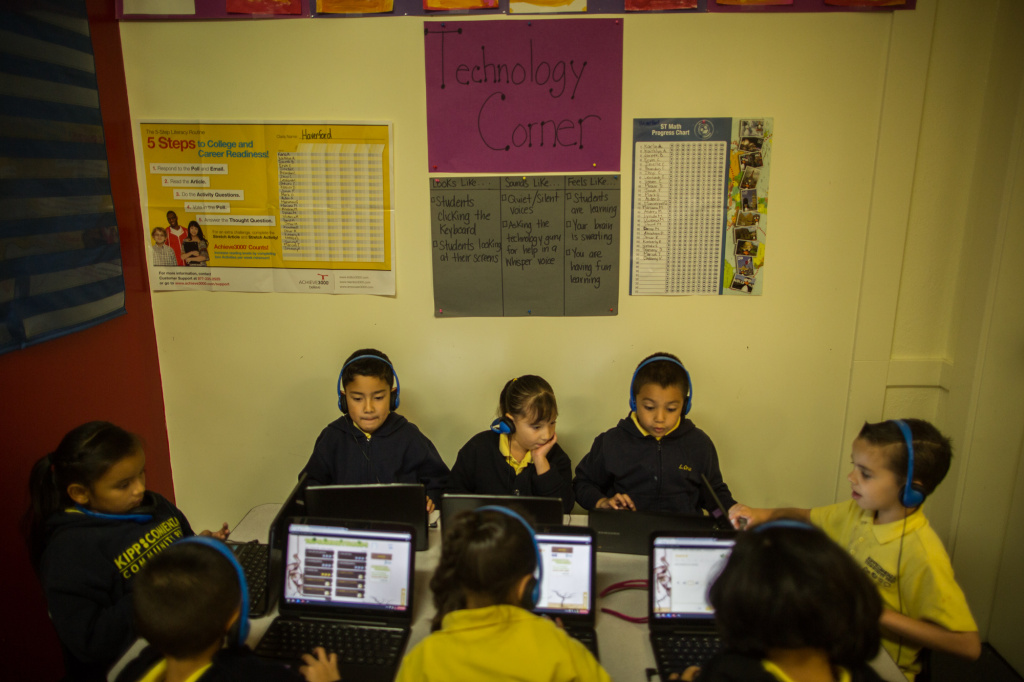 Students use iPads and Chromebooks for instruction at Comienza Community Prep in Huntington Park.