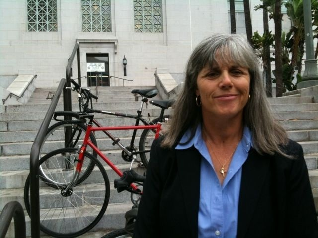 Michell Mowery, Los Angeles Bicycle Coordinator, at Los Angeles City Hall