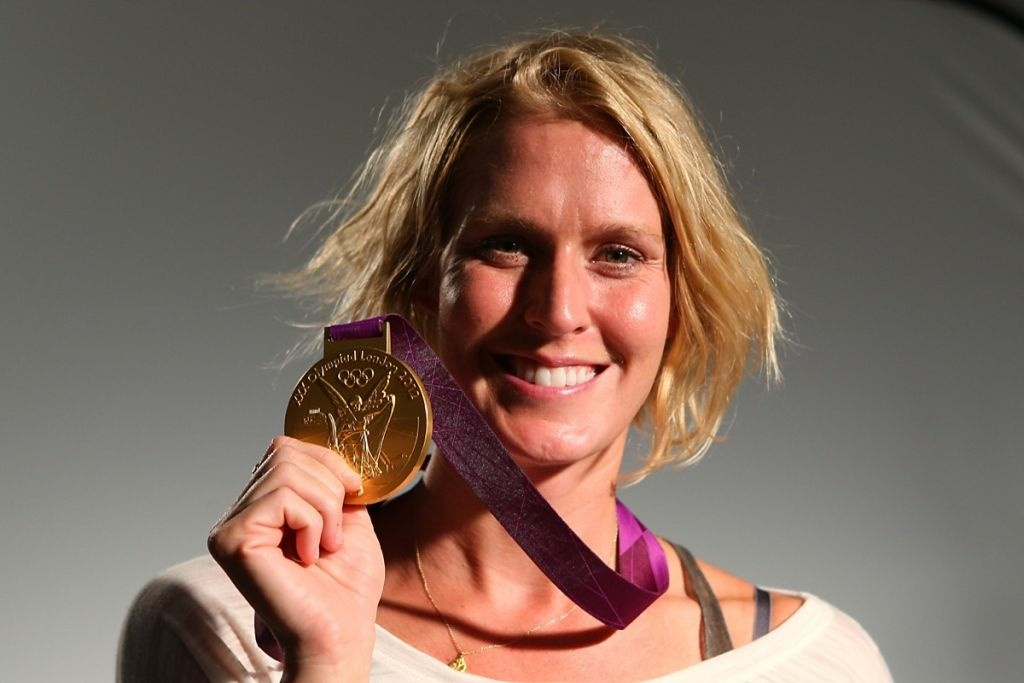 U.S. Olympian Betsey Armstrong shows off her new bling. State lawmakers set aside a bill on Thursday that would exempt Olympians from paying taxes on their medals after they return to California.