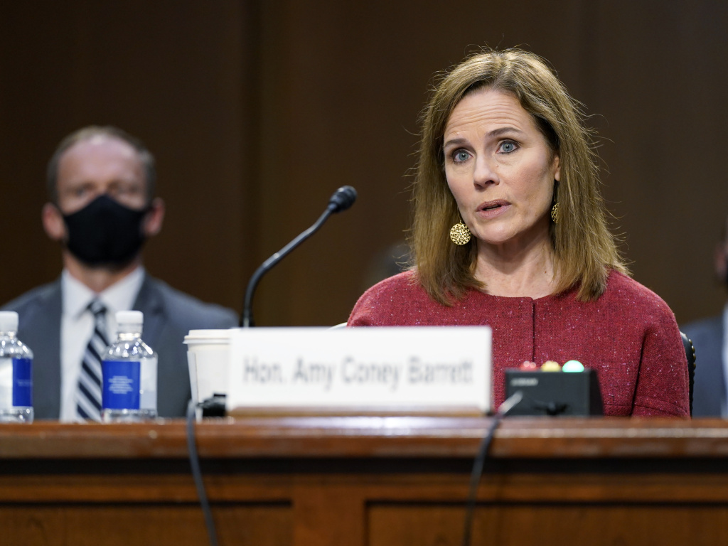 Supreme Court nominee Amy Coney Barrett speaks during a confirmation hearing before the Senate Judiciary Committee on Tuesday.