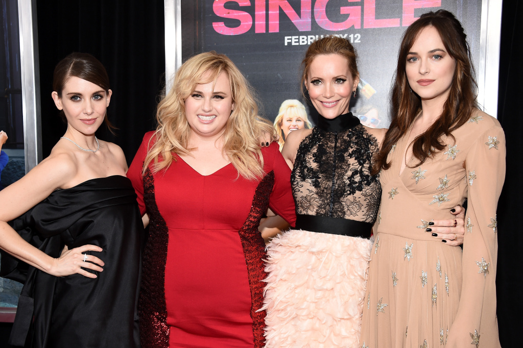 (L-R) Actresses Alison Brie, Rebel Wilson, Leslie Mann, and Dakota Johnson attend the New York premiere of