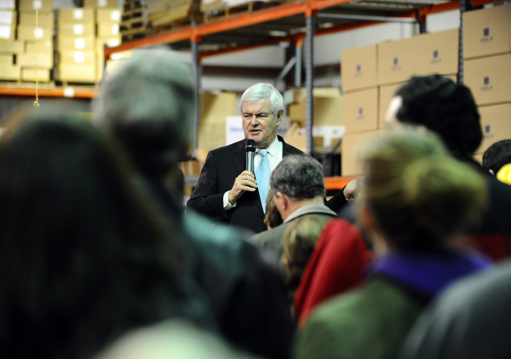 Republican presidential candidate Newt Gingrich speaks during a townhall meeting in Hiawatha, Iowa, on December 19, 2011.