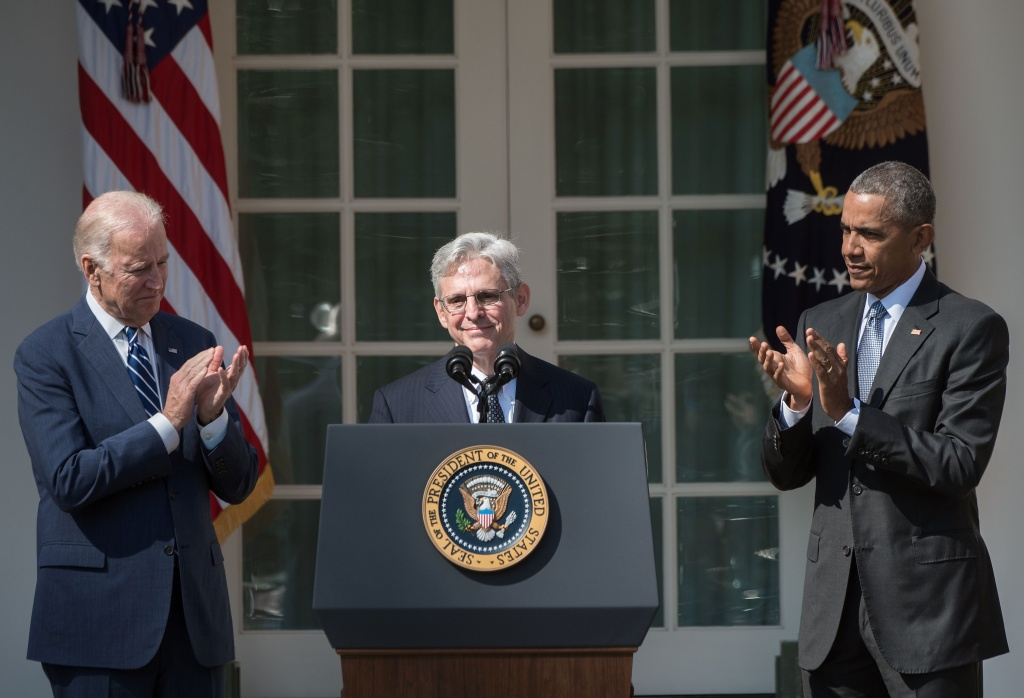 Judge Merrick Garland (C) speaks after US President Barack Obama, with Vice President Joe Biden (L), announced Garland's nomination to the US Supreme Court.