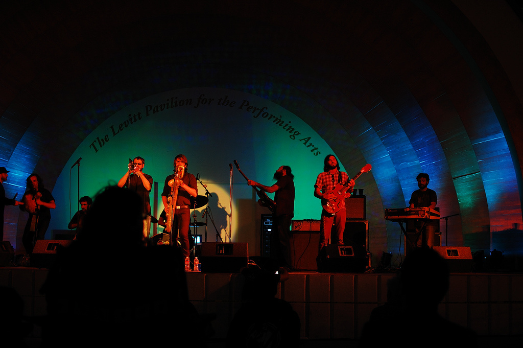 Musicians perform at the Levitt Pavillion.