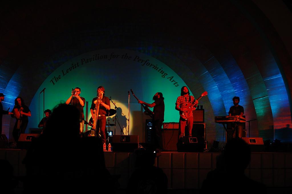 Musicians perform at the Levitt Pavillion.