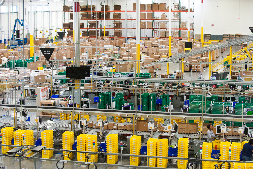 The inbound operation area inside Amazon's one-million-square-foot fulfillment center in San Bernardino. Soon Amazon plans to open California's second fulfillment center, in Moreno Valley.