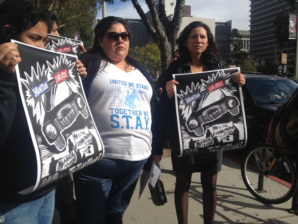 Veronica Arellano (center) is among a group asking a judge to allow them to intervene and challenge a gang injunction in the Echo Park and Silver Lake neighborhoods.