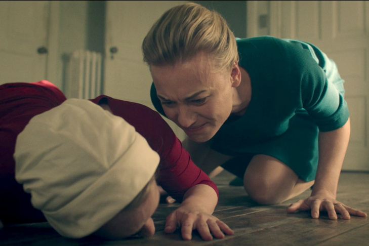 Serena Joy (Yvonne Strahovski) yells at Offred (Elisabeth Moss) after she tells she her she's not pregnant in