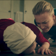 "Serena Joy (Yvonne Strahovski) yells at Offred (Elisabeth Moss) after she tells she her she's not pregnant in ""The Handmaid's Tale."""