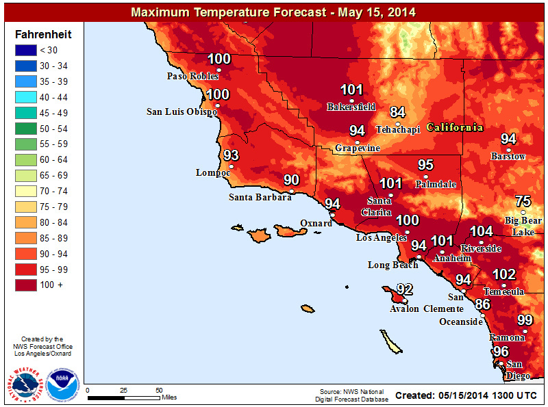 A high temperature forecast for Thursday, May 15, 2014.