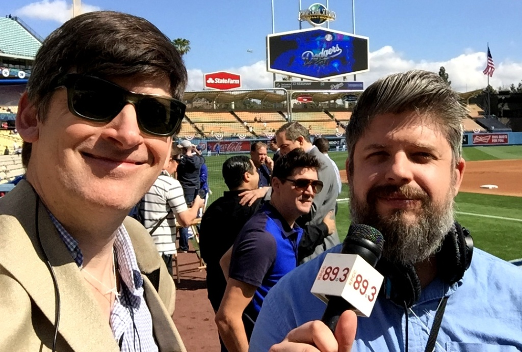 Off-Ramp host John Rabe and producer Kevin Ferguson, Dodgers Opening Day 2015.