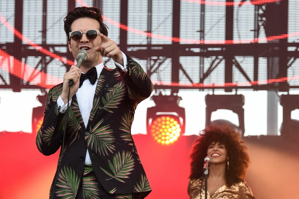 Singers from the band Tuxedo, Mayer Hawthorne (left) and Gavin Turek (right), perform on stage during the 29th Eurockeennes rock music festival on July 8, 2017 in Belfort, France.