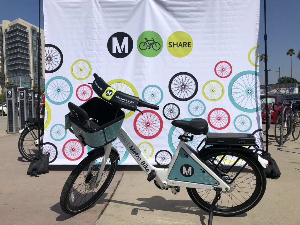 One of the new smart bikes Metro has brought to North Hollywood area.