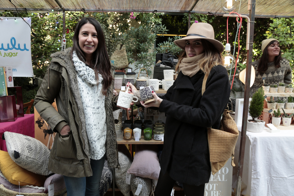 Barbara Garcia Cristina Planell show off their street style at the Palo Market on December 3, 2016 in Barcelona, Spain.