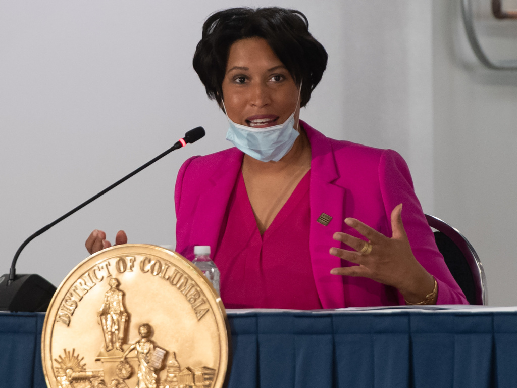 Mayor Muriel Bowser speaks during a press conference at a temporary field hospital at the Walter E. Convention Center in Washington, D.C. on May 11, 2020, featuring 437 beds for patients suffering from COVID-19, and part of the city's medical surge response plan as an alternate care site to assist hospitals.