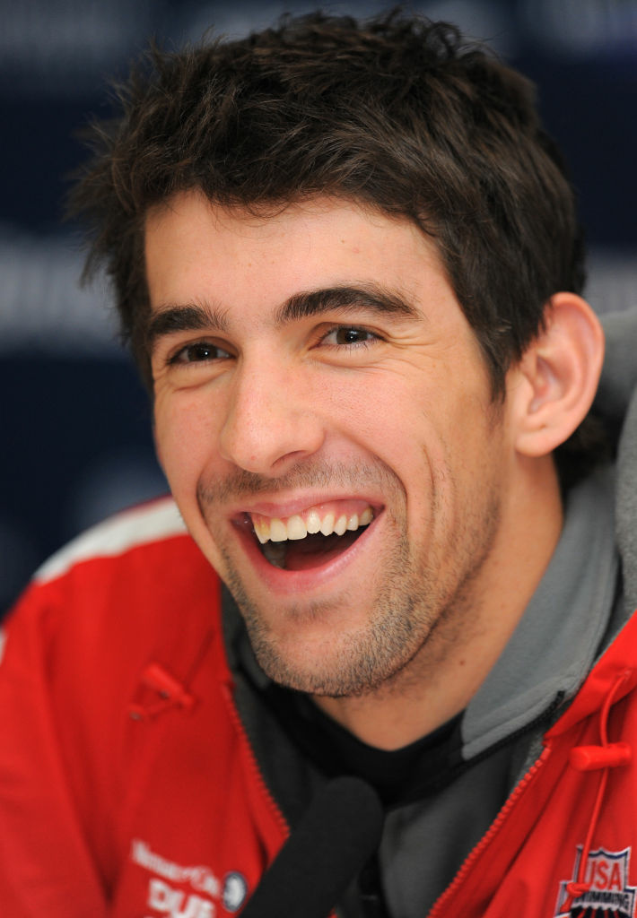 US swimmer Michael Phelps speaks at a press conference.