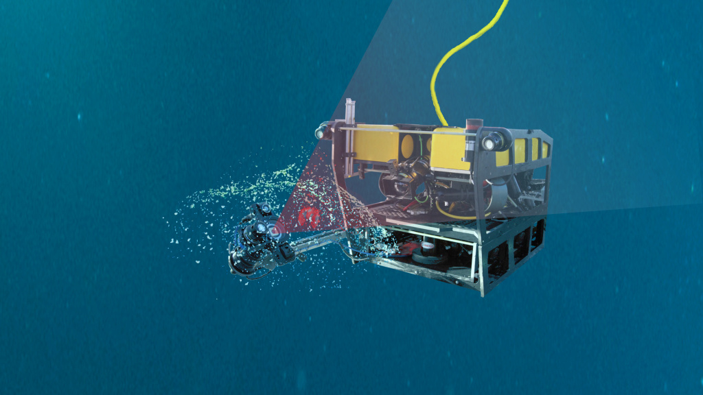 Illustration of MBARI's MiniROV using the DeepPIV laser system to illuminate a giant larvacean.