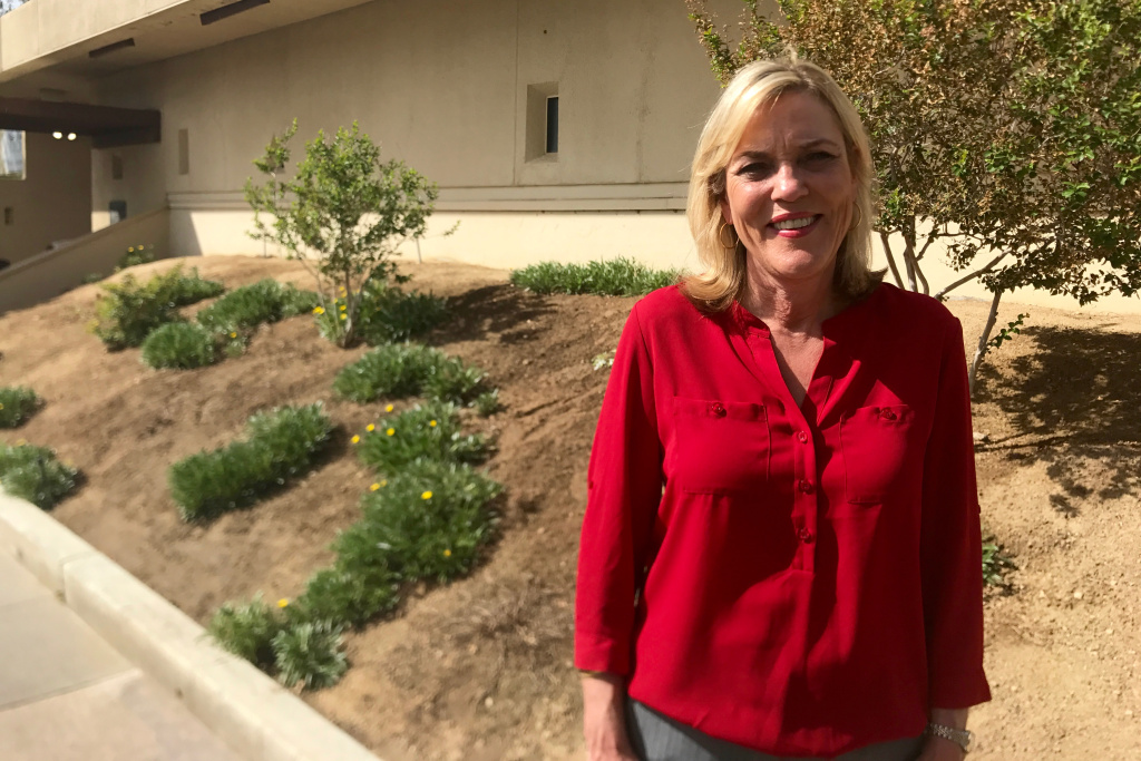 Kathryn Barger, chief deputy to termed-out Supervisor Mike Antonovich, outside the Antelope Valley Senior Center. Barger is running for the open seat for District 5.