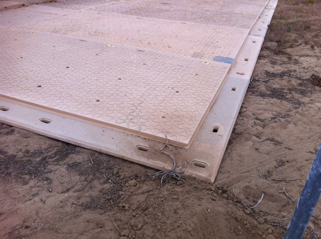 Detail of one of the 900 DURA-BASE mats shipped to LA by Newpark Mats to provide a smooth road for Shuttle Endeavour.