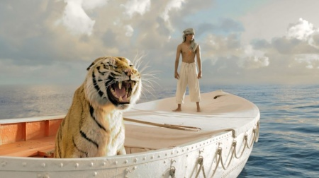 "Pi Patel (Suraj Sharma) and a fierce Bengal tiger named Richard Parker must rely on each other to survive an epic journey in ""Life of Pi."""