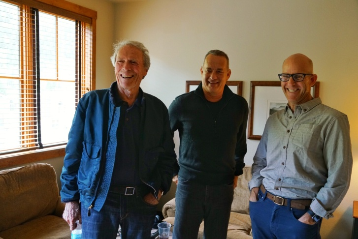 Clint Eastwood and Tom Hanks after an interview with The Frame's John Horn for the film
