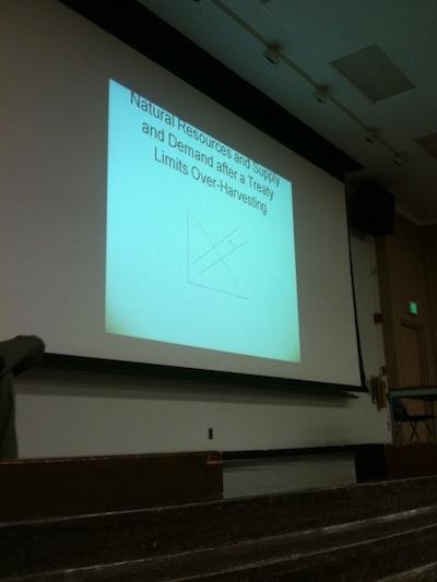 Environmental economics professor Matt Kahn teaches to a packed auditorium these days.