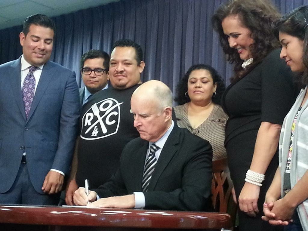 Gov. Jerry Brown signed a bill last September in Los Angeles mandating the paid leave that supporters say will guarantee workers don't lose jobs or salaries if they get sick.