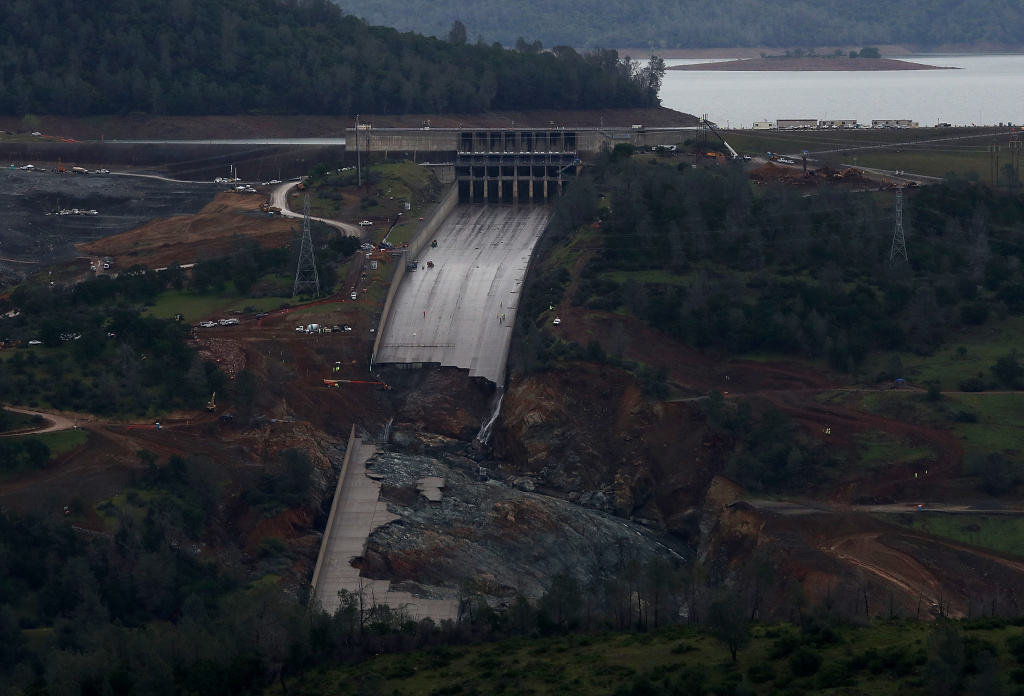 A view of of the heavily damaged spillway at Lake Oroville on April 11, 2017 in Oroville, California. After record rainfall and snow in the mountains, much of California's landscape has turned from brown to green and reservoirs across the state are near capacity. California Gov. Jerry Brown signed an executive order Friday to lift the State's drought emergency in all but four counties. The drought emergency had been in place since 2014.