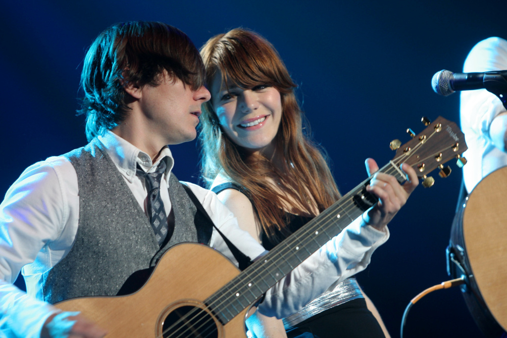 Blake Sennett and  Jenny Lewis of the band Rilo Kiley perform on stage at the 2007 mtvU Woodie Awards at Roseland Ballroom November 8, 2007 in New York City.