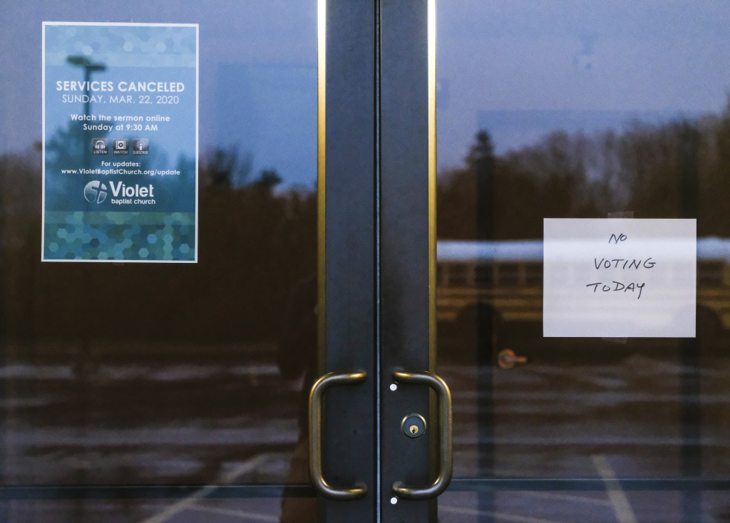 Polling stations throughout the were shut down as Gov. Mike DeWine called for the state's primaries to be pushed back to June on March 17, 2020 in Columbus, Ohio.