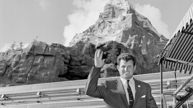 Senator Edward M. Kennedy visits the Matterhorn at Disneyland in Anaheim, California (1960)