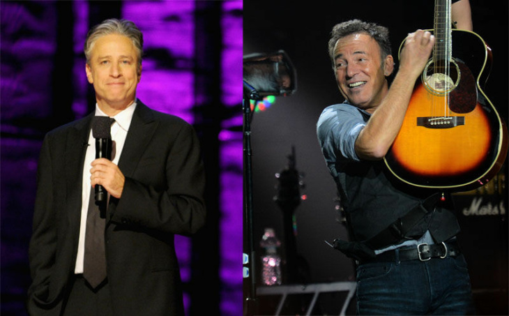 Jon Stewart at The Beacon Theatre on October 13, 2012 in New York City.  (Photo by Dimitrios Kambouris/Getty Images) | Bruce Springsteen at Madison Square Garden on December 12, 2012 in New York . (DON EMMERT/AFP/Getty Images)