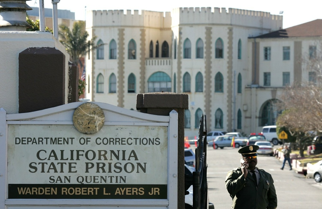 A guard stands at the entrance to the California State Prison at San Quentin in San Quentin, California.