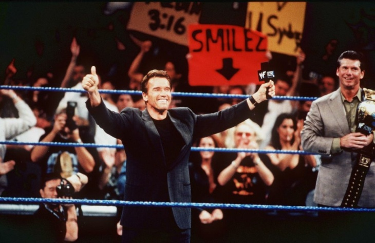 Arnold Schwarzenegger and Vince Mcmahon on WWF Smackdown in 1999. Over a decade later, Schwarzenegger served as WWE Raw's social media ambassador on Monday, Oct. 8, 2012.