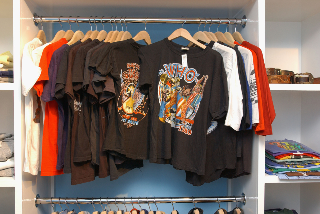 Vintage T-shirts are on display at the Lo-Fi boutique on September 9, 2002 in Los Angeles, California.