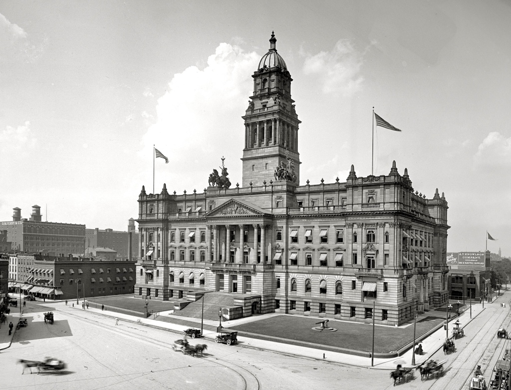 The historic Wayne County Building in downtown Detroit, c. 1910. Now up for sale.