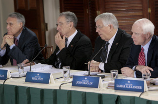 From left, Senate Minority Whip Jon Kyl of Ariz., Sen. Charles Grassley, R-Iowa, Sen. Michael Enzi, R-Wyo., and Sen. John McCain, R-Ariz., take part in the health care reform meeting at the Blair House in Washington, Thursday, Feb. 25, 2010.