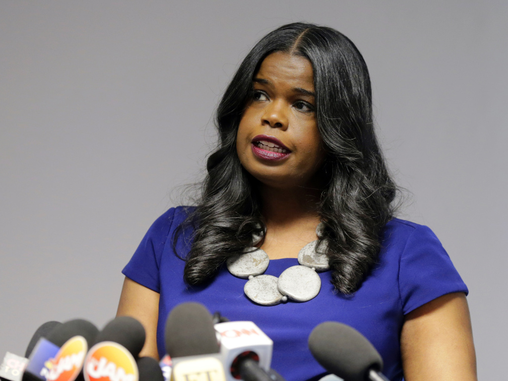 Cook County State's Attorney Kim Foxx speaks at a news conference in February.