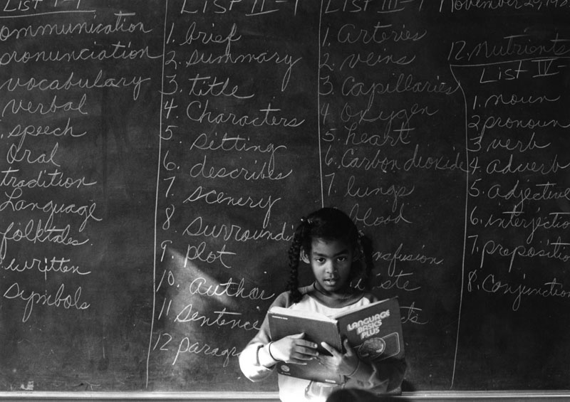 1981: A student tackles English at Marcus Garvey Elementary, an alternative school in South Central Los Angeles.