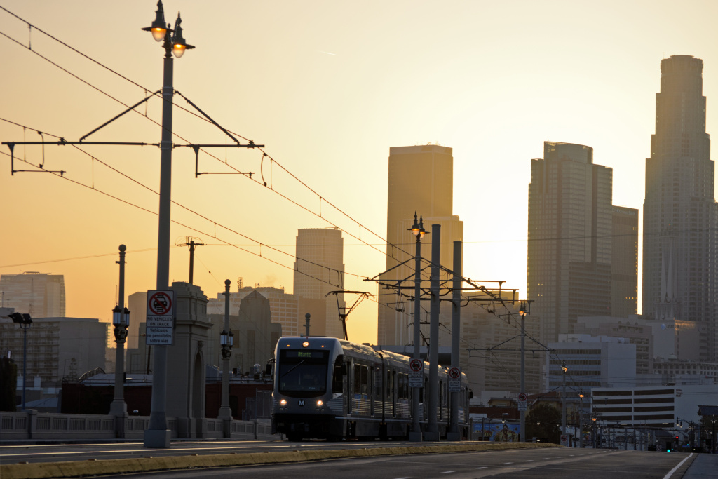 Downtown Los Angeles metro rail gold line train subway