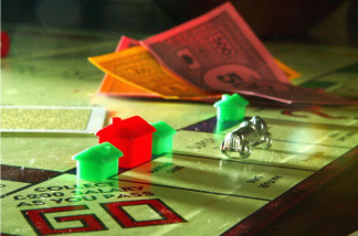 Pieces and play money from the Monopoly board game