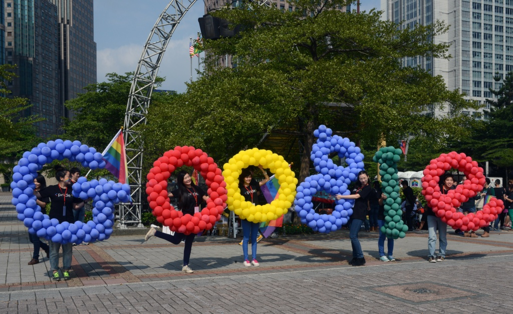 Employees from Taiwan Google join the annual gay parade in Taipei on October 26, 2013.