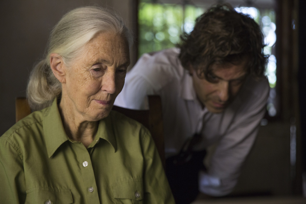Jane Goodall and award-winning director Brett Morgan during production  of Jane in Tanzania.