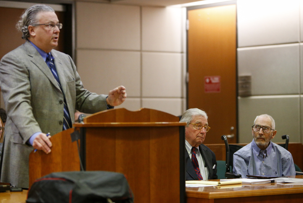 Defense attorney David Chesnoff, left addresses the court as defense attorney Dick DeGuerin real estate heir Robert Durst listen during a pre-trial motions hearing at Los Angeles Superior Court Airport Branch Friday, Jan. 6, 2017, in Los Angeles. (Mark Boster/Los Angeles Times via AP, Pool)