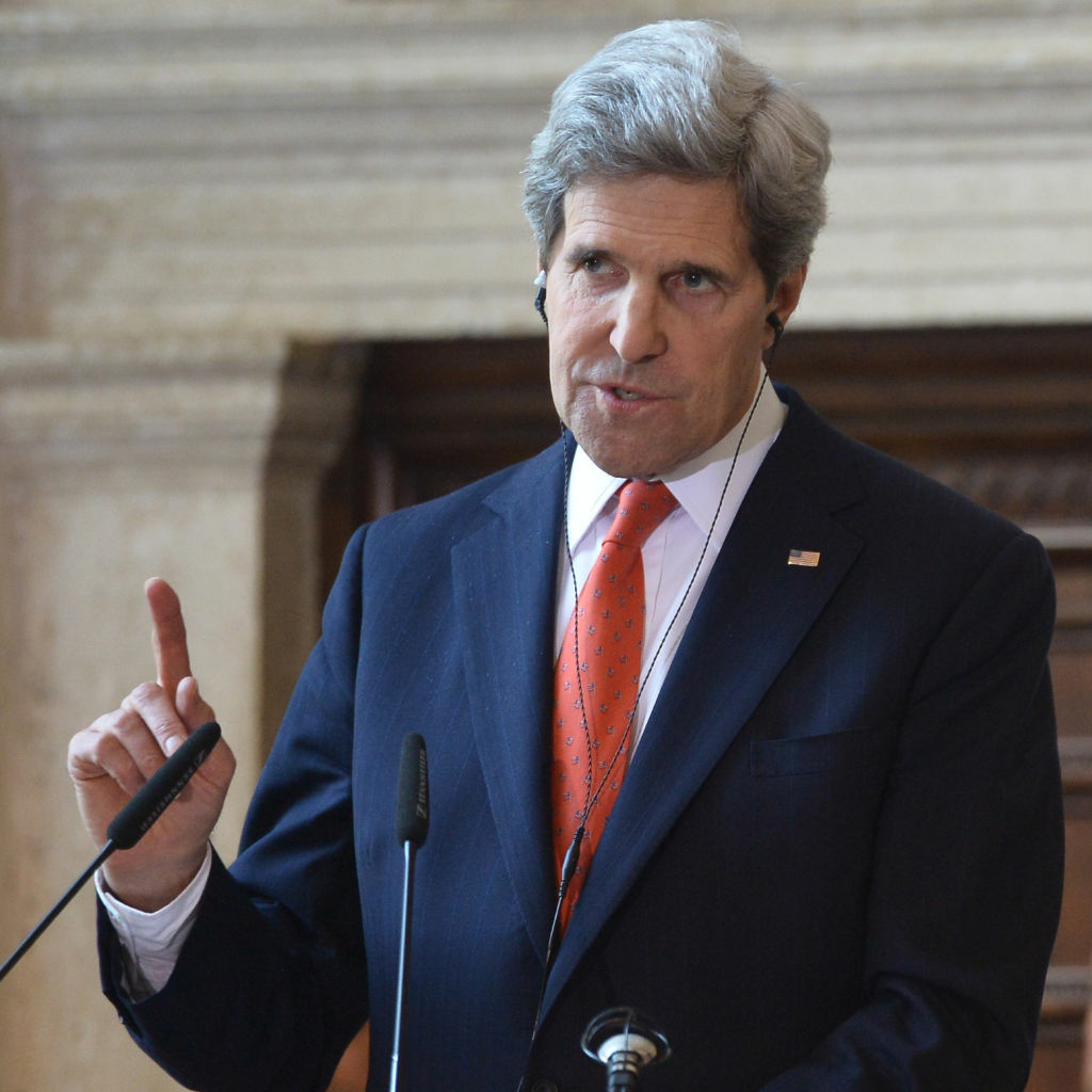 U.S. Secretary of State John Kerry during a news conference in Rome. Kerry flew into Afghanistan on an unannounced visit Monday to see President Hamid Karzai amid concerns the Afghan president may be jeopardizing progress in the war against extremism with his anti-American rhetoric.