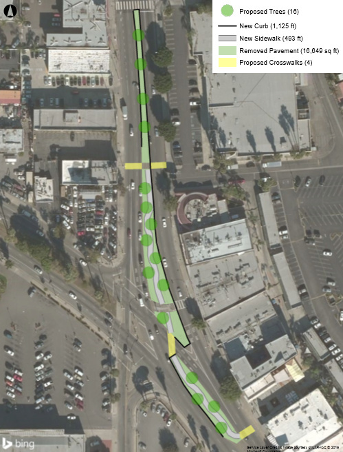 A site plan for the transformation of a median in the middle of Van Nuys Boulevard in Panorama City. The environmental group Pacoima Beautiful says they hope to put funding from the Great Streets Challenge toward development costs.