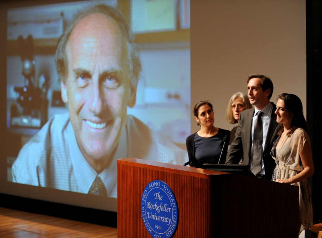 The family of medical researcher Ralph Steinman, winner of the 2011 Nobel Prize in medicine, speaks at press conference October 3, 2011 at Rockefeller University in New York. Canadian-born Steinman, who died September 30, 2011, was awarded for his discovery of dendritic cells.